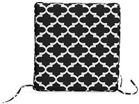 Black White Geometric Trellis Set of 2 17 x 17 Inch Outdoor Furniture Seat Pads Cushions for Patio Chair with Ties