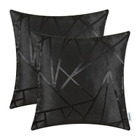 CaliTime Pack of 2 Throw Pillow Covers Cases for Couch Sofa Home Decor Modern Shining & Dull Contrast Triangles Abstract Lines Geometric 20 X 20 Inches Black