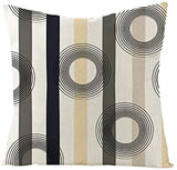 IcosaMro Geometric Pillow Covers Set of 4 Stripe Dot Art 18x18 Decorative Pillow Cases Square Zippered Cotton Linen Cushion Cover Room Sofa Decor, Beige