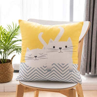 "Cheeseland Colorful Geometric Short Plush Throw Pillow Cover Nice Hand Feeling 18x18 Inch Square Cushion Case with Cat Pattern for Living Room,Bedroom,Child's Room (Big&Small Cats, M-18""X18"")"
