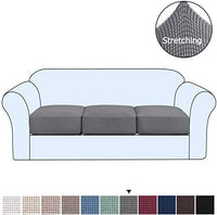 H.VERSAILTEX High Spandex Lycra Stretch 3 Pack Individual Cushion Slipcovers Couch Cushion Covers Sofa Cover Featuring Jacquard Textured Twill Fabric (3 Pack for 3 Cushion Sofa, Gray)