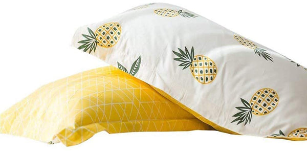 "AMWAN Cotton Fresh Pineapple Pillowcases Set Queen Soft Kids Fruits Pillow Covers Reversible Geometric Pillow Shams Boys Girls Standard Queen Pillowcases, Envelope Closure, (2 Pieces, 20""×26"")"