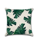 RAINED-Palm Pillow Case, Summer Exotic Jungle Plant Tropical Palm Leaves on The Geometric Cotton Linen Cushion Cover Square Standard Home Decorative Throw Pillow 18x18 inch
