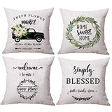 ULOVE LOVE YOURSELF Modern Simple Geometric Decorative Throw Pillow Covers Square Cotton Linen Cushion Covers Outdoor Sofa Home Pillow Covers 18 X 18 Inch,4 Pack (Geometric Style-2)