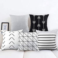 CDWERD 6pcs Geometric Pillow Covers Stripe Cotton Linen Throw Pillow Cushion Cases for Couch Home Decor 18 x 18 Inches