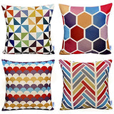 WOMHOPE Geometric Decorative Throw Pillow Covers Pillow Cases Cushion Cases 18 x 18 Inch for Living Room,Couch and Bed (The Triangle(2 pcs))