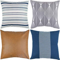 Woven Nook Decorative Throw Pillow Covers ONLY for Couch, Sofa, or Bed Set of 4 18 x 18 inch Modern Quality Design 100% Cotton Navy Stripes Geometric Faux Leather Finn Set
