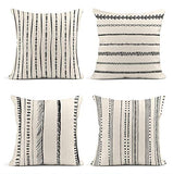 ArtSocket Set of 4 Throw Pillow Covers Pattern Black and White Geometric Endless Dots Lines of Borders Decor Linen Pillow Cases Home Decorative Square 18x18 Inches Pillowcases