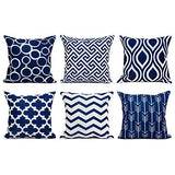Top Finel 100% Durable Canvas Square Decorative Throw Pillows Cushion Covers Pillowcases for Sofa 1 Set of 6,18×18 Inch-Navy