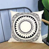 Collive Decorative Throw Pillow Cover Set of 4 Moroccan Cotton Linen and Faux Leather Modern Decor Pillow Cases 18X18 Inch Square Pillow Covers with Mandala Pattern Pillowcase for Sofa Couch Bed Car