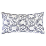 SLOW COW Cotton Linen Embroidery Decorative Throw Pillow Cover for Couch Sofa Bedroom Geometric Pattern Pillowcase 18 x 18 Inches Navy Blue