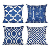 "ionlyou Pillow Covers 18""x18"", Set of 4 Pillow Covers Modern Throw Pillow Covers Navy Fall Pillow Covers Geometric Cotton Linen Neutral Decorative Pillow Covers for Sofa Couch Chair"
