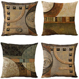 WOMHOPE Set of 4 Vintage Geometric Decorative Throw Pillow Covers Pillow Cases Cushion Cases 18 x 18 Inch for Living Room,Couch and Bed (Brown)