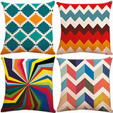 ZUEXT Decorative Throw Pillow Covers 18 x 18 Inch Double Side Design, Set of 4 Cotton Linen Blue Red Grey Geometric Cushion Covers Square Indoor Outdoor Pillowcase for Car Sofa Couch Bed Home Decor