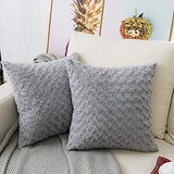 "LANANAS Luxury Soft Plush Faux Fur Throw Pillow Covers for Couch Decorative Mongolian Fur Throw Pillow Covers Pack of 2 (16""x 16"", Pearl White)"