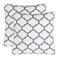 Mika Home Pack of 2 Embroidery Geometric Links Accent Decorative Throw Pillow Cover Sofa Cushion Case for 18X18 Inserts Cotton Fabric Navy White