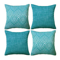 Original Pro Decorative Pillow Covers Chenille Plush Velvet Pillow Covers Geometric Textured Waves Striped Pillow Cases for Sofa Couch Bed 18x18 inches Set of 4 Teal