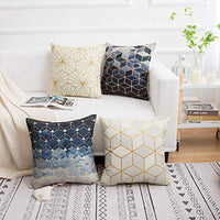 Yumin Throw Pillow Cases Decorative Soft Square Geometric Style Throw Pillow Cover Cushion Case for Sofa 18 x 18 Inch Set of 4