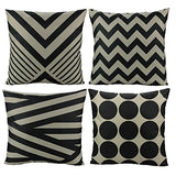 All Smiles 4-Pack Geometric Triangle Pillow Cover Cushion 18x18 Yellow Blue Black Purple Red