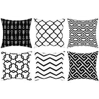 BLEUM CADE Throw Pillow Covers Geometric Pillow Covers Simple Strings Pillow Cases Set of 6 Modern Decorative Cushion Covers for Couch Sofa Bedroom Car(Black White, 18 x 18 Inch)