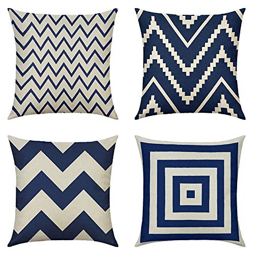 MIULEE Pack of 4 Decorative Pillow Cover Wave Pattern Geometric Style Durable Cotton Linen Burlap Square Throw Cushion Cover Cushion Case for Sofa Bedroom Car 18 x 18 Inch 45 x 45 cm Grey