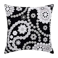 baibu Embroidered Throw Pillow Case 4PCS/Set, 100% Cotton Decor Black and White Geometric Cushion Cover 18x18 inch