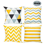 Throw Pillow Cases Geometric Print Durable Canvas Decorative Square Throw Pillow Cases Protectors Cushion Covers 18 x 18 for Sofa, Set of 4, Yellow