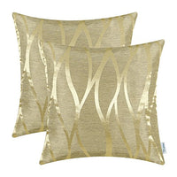 CaliTime Pack of 2 Throw Pillow Covers Cases for Couch Sofa Home Decor Modern Shining & Dull Contrast Abstract Water Waves Lines Geometric 18 X 18 Inches Gold
