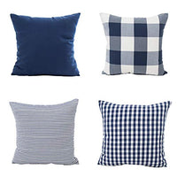 "Shamrockers Pack of 4 Farmhouse Throw Pillow Covers Retro Decorative Pillowcase Simple Geometric Pattern Navy, 18""x18"""