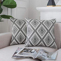 LIFONDER Gray Embroidered Geometric Pattern Throw Pillow Covers for Sofa Bedroom Car Chair and Couch, 100% Cotton Cushion Cases 18 x 18 inch, Set of 2