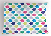 "Lunarable Colorful Pillow Sham, Traditional Polka Dot Design in Multicolor Geometric Circles Contrasting Colors, Decorative Standard Queen Size Printed Pillowcase, 30"" X 20"", Pink Blue"
