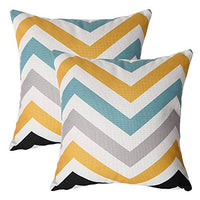 2 Pack Outdoor Pillow Covers Fall Decorative Throw Pillow Cases Teal Grey Black Geometric Design Painting 18x18 Inches Polyester Textured Cushion Cover