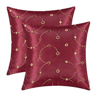 CaliTime Pack of 2 Cushion Covers Throw Pillow Cases Shells for Sofa Couch Home Decoration Modern Simple Circles Rings Dots Geometric Chain Embroidered 18 X 18 Inches Deep Red