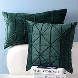 JWH Handmade Geometric Accent Pillow Cases Velvet Cushion Covers Decorative Pillowcases Luxury Shell Home Bed Living Room Decoration Sheets 14 x 24 Inch Dark Green