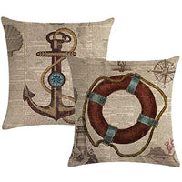 "7COLORROOM Set of 2 Vintage Sea Theme Pillow Covers with Nautical & Ocean Style Life Buoy& Anchor Pattern Cushion Covers Beach Cotton Linen Home Decorative 18""×18"" Pillowcases(Vintage Sea)"