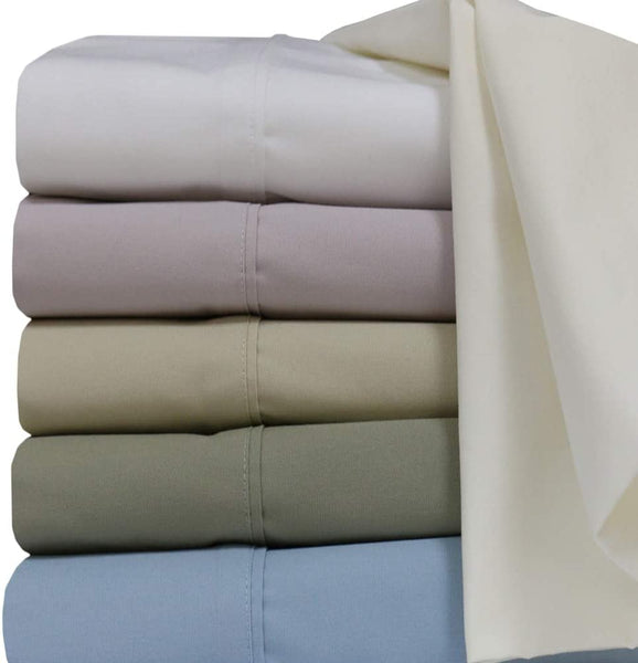 Set of Standard Pillowcases- Pair- Solid Tan Percale -Cotton-300-Thread-Count