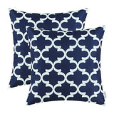 CaliTime Pack of 2 Soft Canvas Throw Pillow Covers Cases for Couch Sofa Home Decor Modern Quatrefoil Accent Geometric 18 X 18 Inches Navy Blue