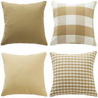 "Throw Pillow Covers Cases Geometric Stripe Tartan Checkered Buffalo Check Plaid Pillowcases Cushion Covers Decorative Throw Pillow Covers Waist Pillow Covers Cotton Linen,Set of 4 (Red (18x18""))"
