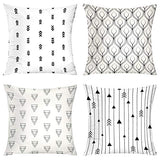 Galmaxs7 Peacock Feathers Arrows Throw Pillow Cover Decorations Cushion Couch Cover Modern Geometric Black Arrows Pillow Cases 18X18 Inch Set of 4 for Sofa Bed Home Living Room Car Bedroom