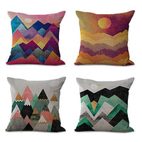 Alhwap Set of 4,Decorative Throw Pillow Covers,Cartoon Nature Abstract Landscape Mountain Sunset Pencil Sunrise Geometric Home Decor Cushion Couch Cover Pillow Case,Cotton Linen,18X18 Inch