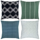 Woven Nook Decorative Throw Pillow Covers, 100% Cotton Canvas, Kennedy Set, Pack of 4