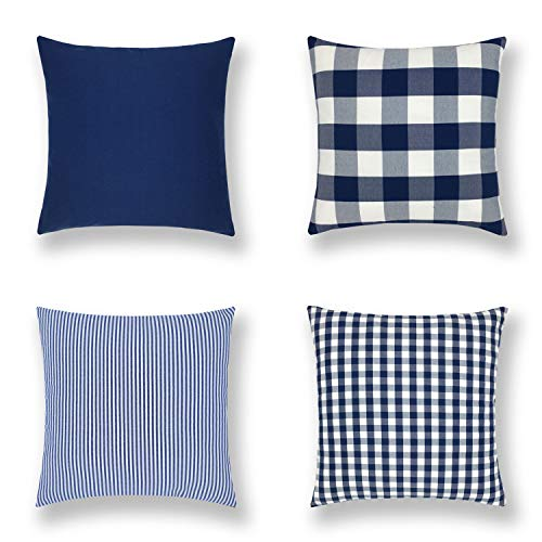 Gooday 4-Pack Decorative Throw Pillow Cases, Black Plaid Buffalo Check Stripes Geometric Cushion Covers Countryside Style Home Décor 18 X 18 Inches (45 X 45cm)