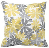 Emvency Set of 4 Throw Pillow Covers Gray and Yellow Modern Daisy with Pretty White Floral Hand Decorative Pillow Cases Home Decor Square 16x16 Inches Pillowcases
