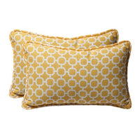 "Pillow Perfect Decorative Geometric Rectangle Toss Pillow, 18-1/2""L x 11-1/2""W x 5"" D, Yellow/White"