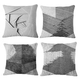 MOCOFO Black and White Throw Pillow Covers, Set of 4 Decorative Geometric Home Decor Couch Burlap Farmhouse Rustic Stylelish for Sofa Cotton Linen Accent Cushion Covers,Soft Canvas Square 18 x 18''