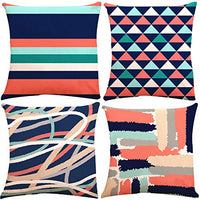 ZUEXT Geometric Throw Pillow Covers 18x18 Inch Double Sided, Set of 4 Cotton Linen Indoor Outdoor Modern Floral Accent Pilllow Cushion Cover for Car Sofa Home Decor (Navy Beige Check, Mix & Match)