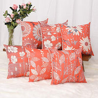 Master Pillowcase Modern Geometric Flower Printing Durable Cotton Linen Decorative Throw Pillow Cover Orange Square Cushion Case for Couch Home 18 x 18 Inch Set of 6 Red and Yellow