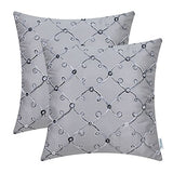 CaliTime Pack of 2 Faux Silk Throw Pillow Covers Cases for Sofa Couch Home Decoration 18 X 18 Inches Gradient Trellis Geometric Chain Embroidered Gray