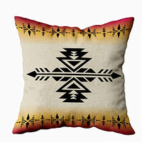 HerysTa Art Pillow Case Home Decorative Cotton Pillow Covers 18X18inch Invisible Zipper Cushion Cases Geometric Pattern Native American Southwest Print Ethnic Textile Square Sofa Bed Décor,Orange Red