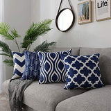 FanHomcy Black Geometric Lumbar Decorative Throw Pillows Cushion Covers Cases Square Soft Pillowcases for Sofa 12 x 20 inches Set of 4